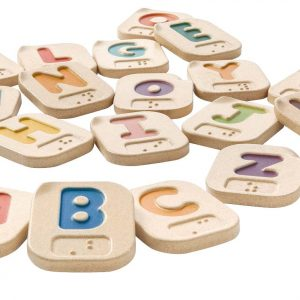 Wooden braille alphabet