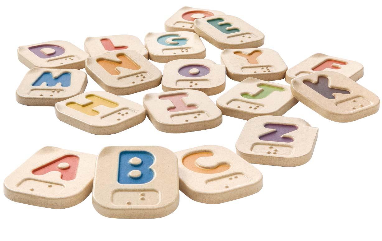 Wooden braille alphabet