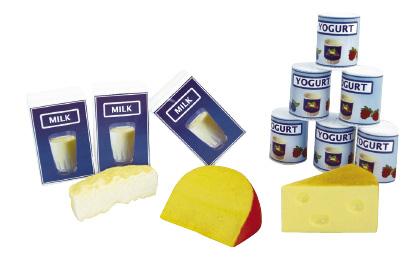 Plastic Milk, Yoghurt and Cheese Set