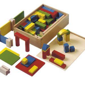 Wooden building bricks coloured